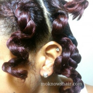 Bantu knot sections unwound the next morning.