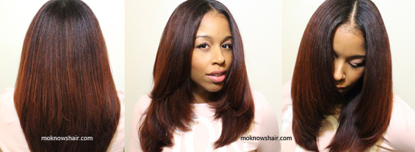 Straightening natural hair with Aveda\'s Smooth Infusion line.